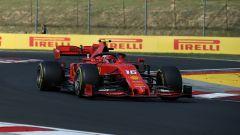 Charles Leclerc in pista in Ungheria con la Ferrari