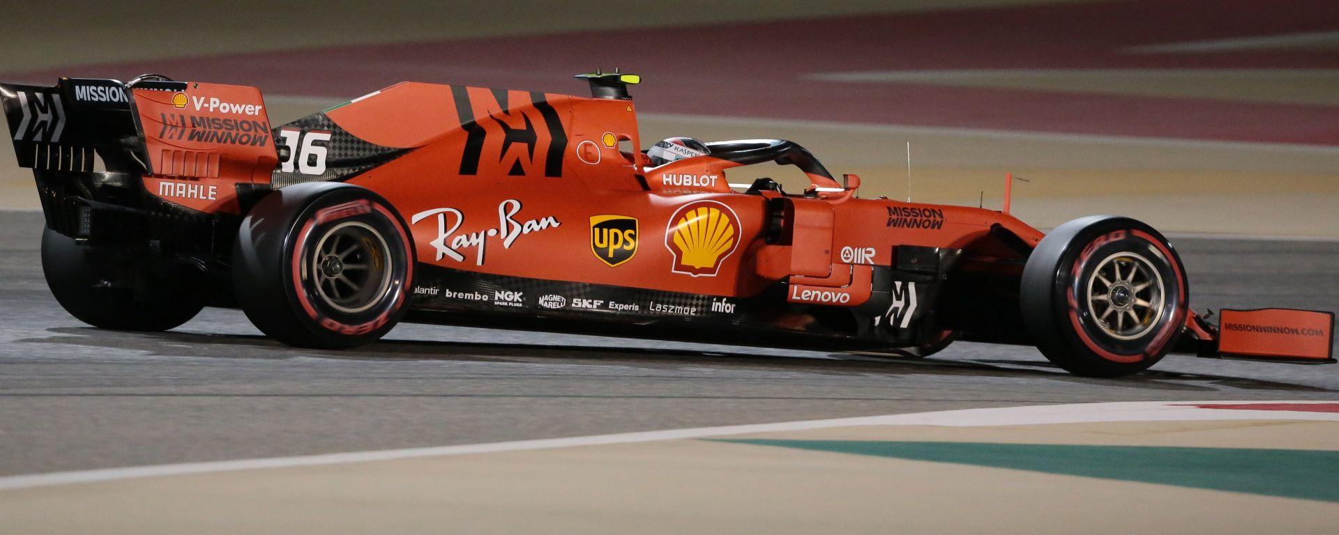 Charles Leclerc nei primi giri del Gp Bahrain 2019
