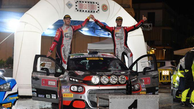CIR, Targa Florio 2020: Andrea Crugnola e Pietro Ometto (Citroen C3 R5) festeggiano la vittoria