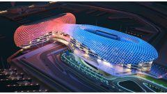Circuito di Yas Marina - l'hotel Yas Viceroy Abu Dhabi di notte