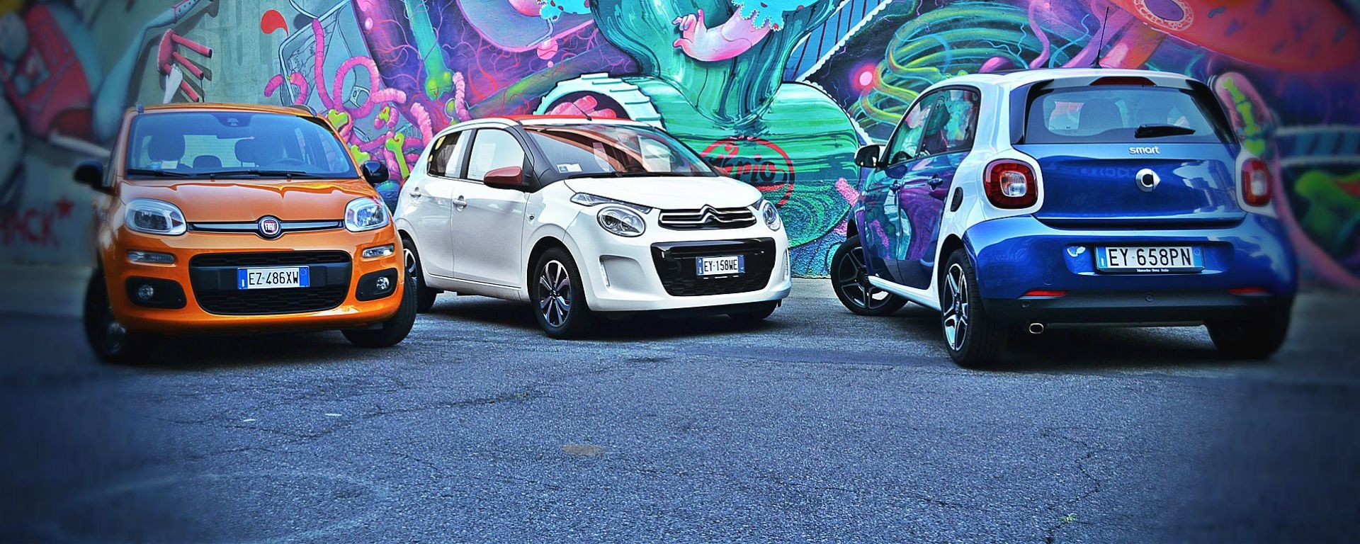 Citroën C1 vs Fiat Panda vs Smart forfour