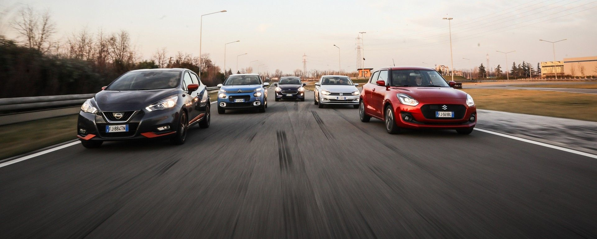 Citroen C3, Ford Fiesta, Nissa Micra, Suzuki Swift, Volkswagen Polo: il video in pista