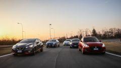 Citroen C3, Ford Fiesta, Nissa Micra, Suzuki Swift, Volkswagen Polo in pista