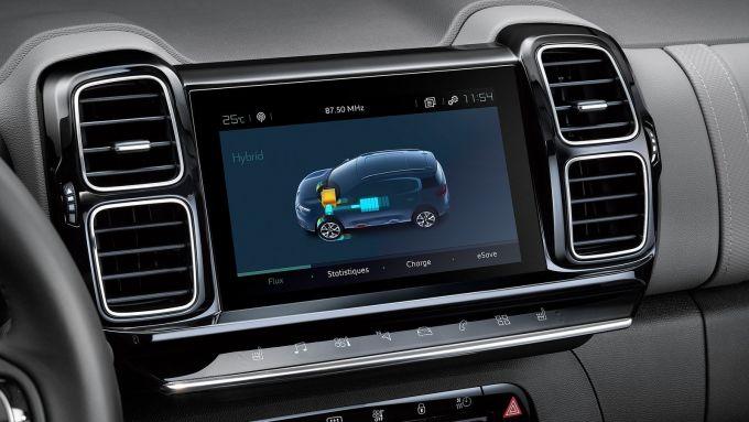 Citroen C5 Aircross: una schermata del touchscreen per la gestione del sistema PHEV