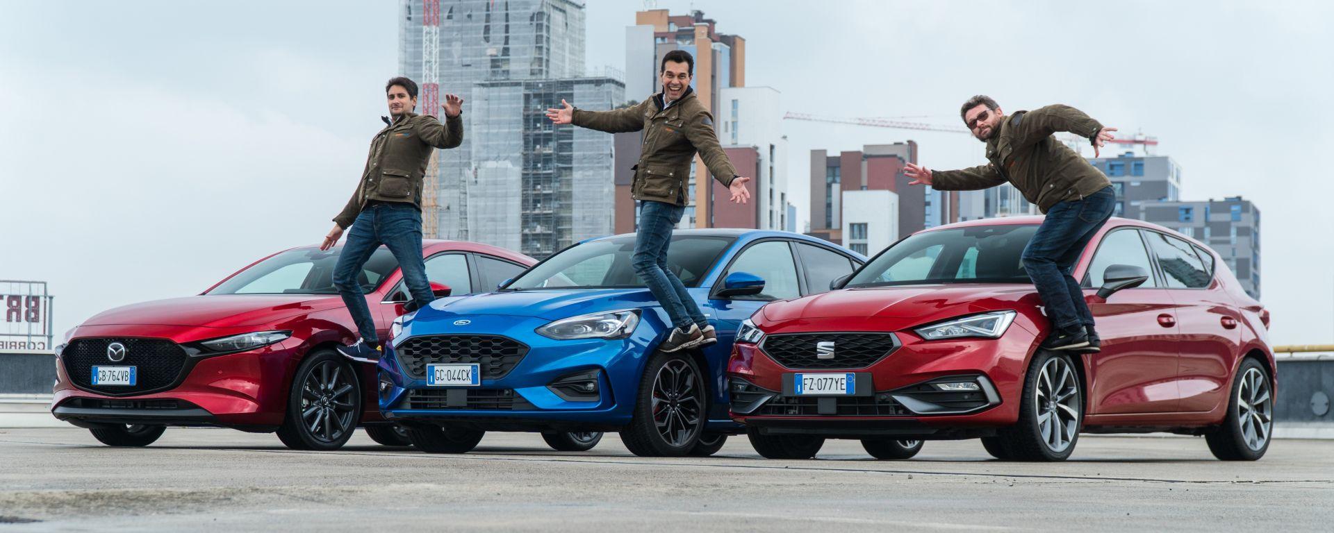 Comparativa Ford Focus EcoBoost Hybrid, Mazda3 Skyactiv G M Hybrid, Seat Leon eTSI: mild-hybrid a confronto