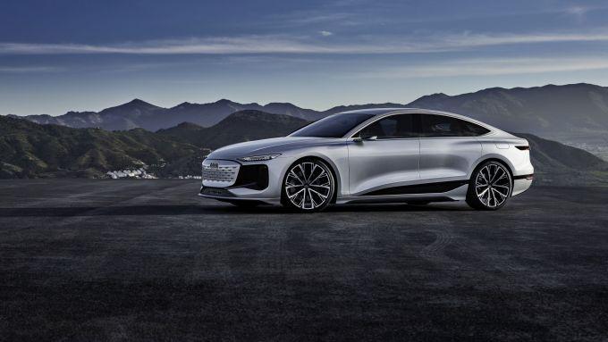 Concept Audi A6 e-tron: visuale laterale