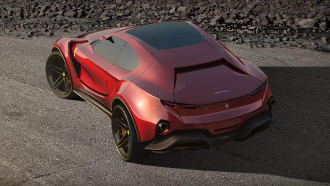 Concept non ufficiale Ferrari Simoom by Dejan Hristov: 3/4 posteriore dall'alto