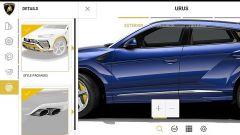 Configuratore Lamborghini Urus: il menu per personalizzare le modanature