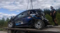 Crash Hayden Paddon - test Rally di Finlandia 2019