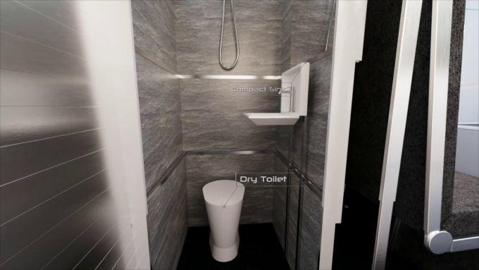 CyberLandr Tesla Cybertruck, doccia, lavandino pieghevole e wc a secco