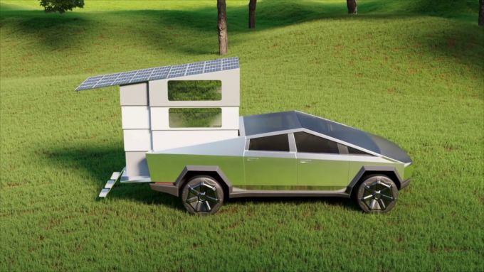 CyberLandr Tesla Cybertruck: sul tetto ci sono pannelli solari estensibili