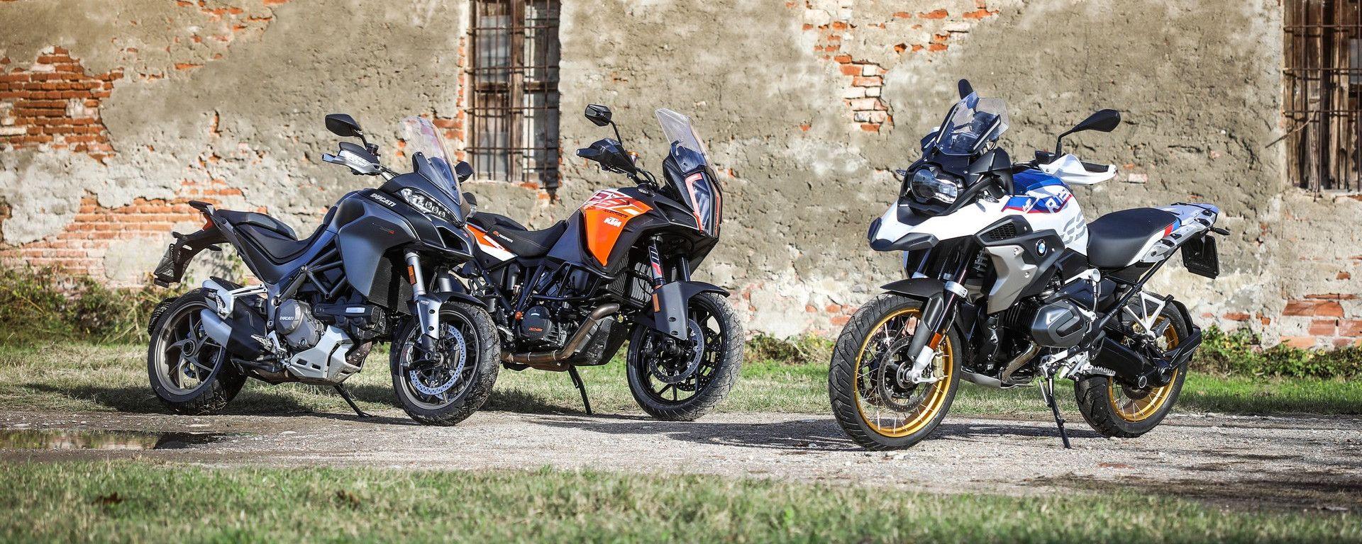 Da sinistra: Ducati Multistrada 1260, KTM 1290 Super Adventure, BMW R 1250 GS