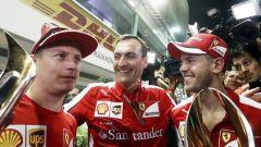 Da sinistra: Kimi Raikkonen, Riccardo Adami e Sebastian Vettel