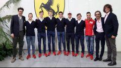 Da sinistra: Mattia Binotto, Gianluca Petecof, Callum Ilott, Robert Shwarzman, Giuliano Alesi, Mick Schumacher, Enzo Fittipaldi,