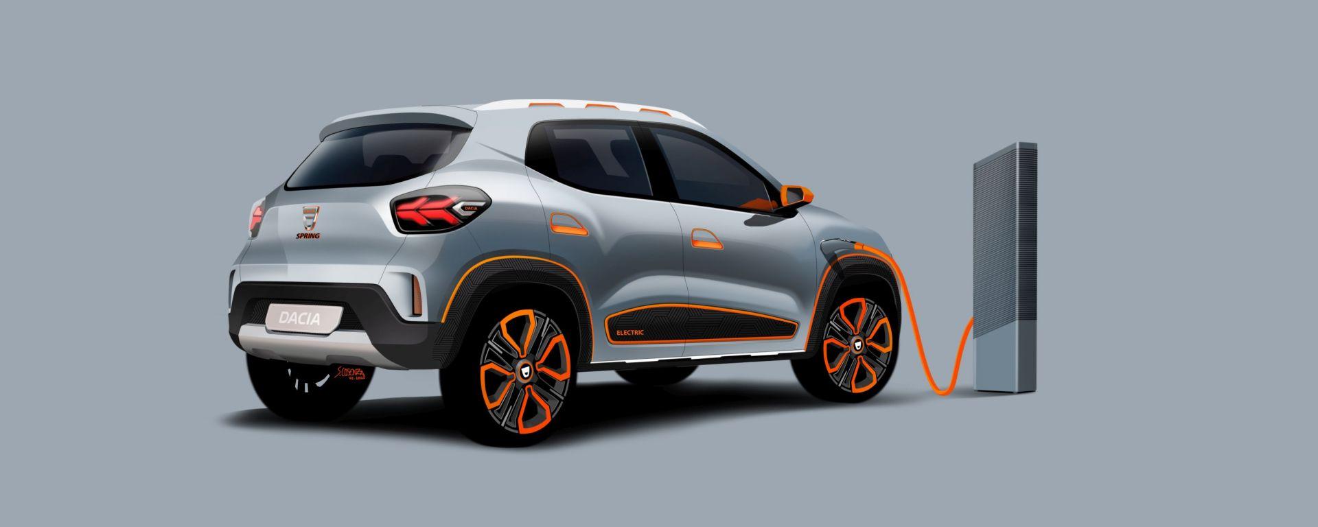 Dacia Spring: visuale da dietro