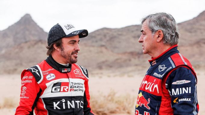 Dakar tappa 4, Fernando Alonso (Toyota) e Carlos Sainz (Mini)