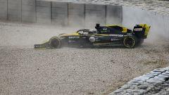 Daniel Ricciardo in testacoda nel day-2 di test F1 a Barcellona