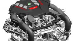 Day by Day Alfa Romeo Giulia Quadrifoglio: un disegno del motore V6 biturbo da 510 CV e 600 Nm