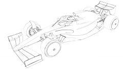 Disegno concettuale di una monoposto di Formula 1 del 2021