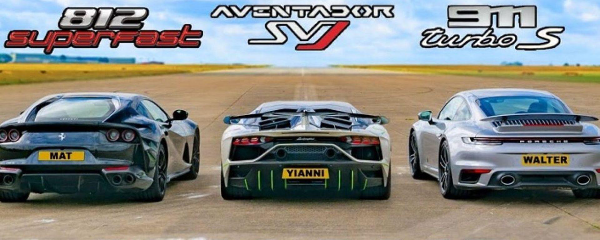 Dragrace a tre: Porsche 911 Turbo S vs Lamborghini Aventador SVJ vs Ferrari 812 Superfast
