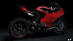 Ducati elettrica: il concept Ducati Zero di Suraj Tiwari, vista 3/4 posteriore