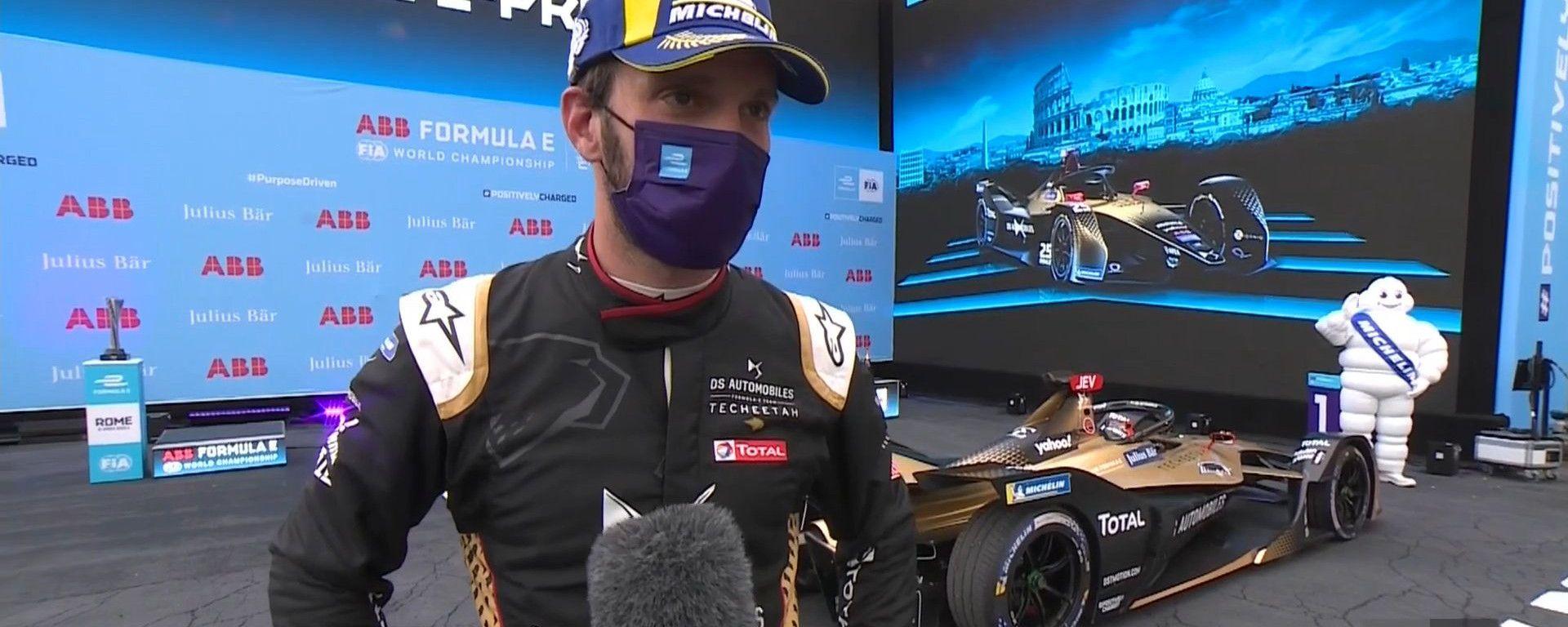 ePrix Roma-1 2021, Jean Eric Vergne (Team DS Techeetah) intervistato sotto il podio