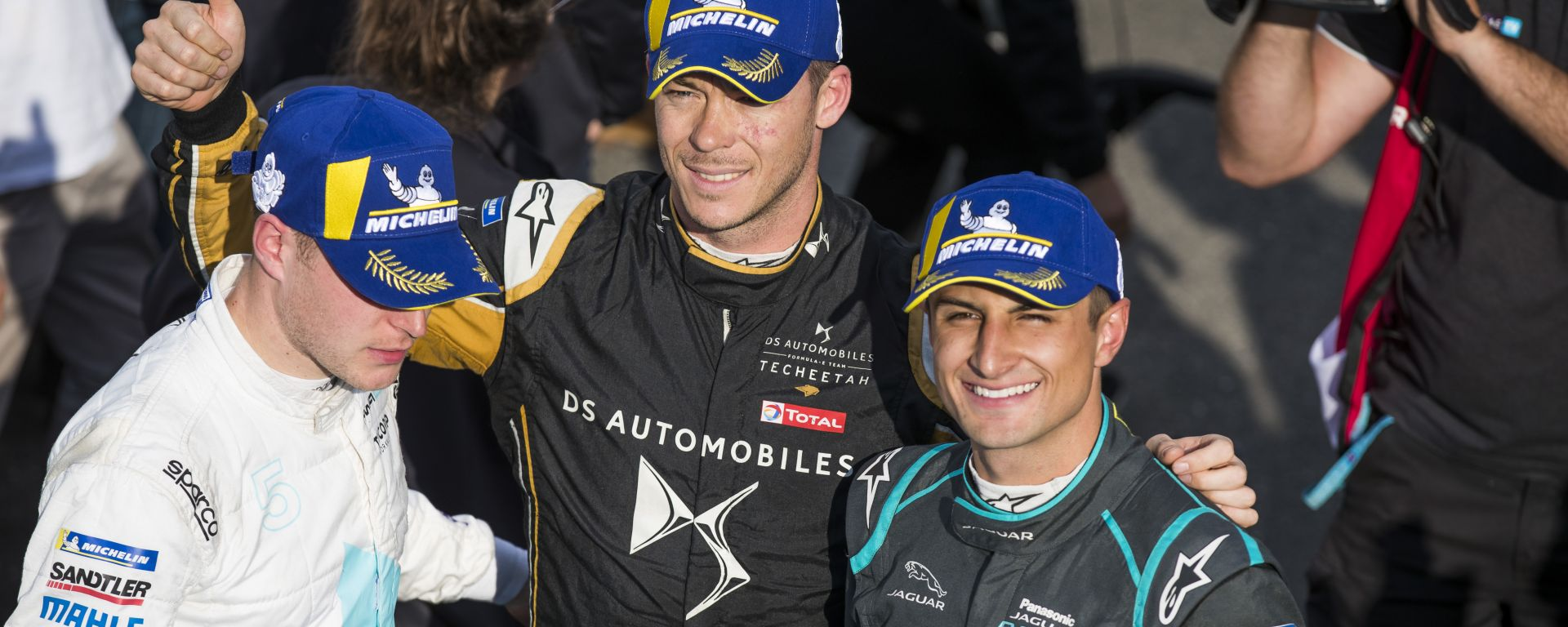 ePrix Roma 2019, il podio composto da Vandoorne, Lotterer ed Evans