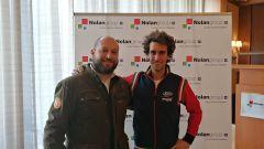 Evento Nolan a Milano, 13-02-2020: Simone Valtieri (MotorBox) e Alex Rins (Suzuki)