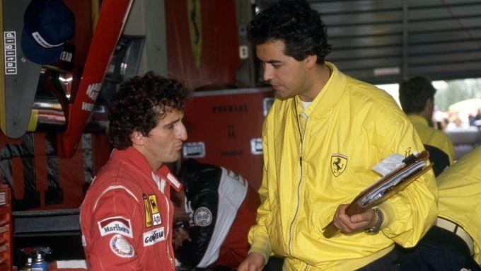F1 1990: Alain Prost con l'ing. Mazzola (Ferrari)