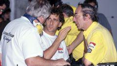 F1 1991: Alain Prost (Ferrari) con l'ingergner Lombardi