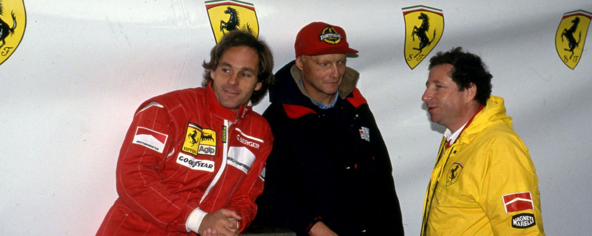 F1 1993: Jean Todt con Gerhard Berger e Niki Lauda