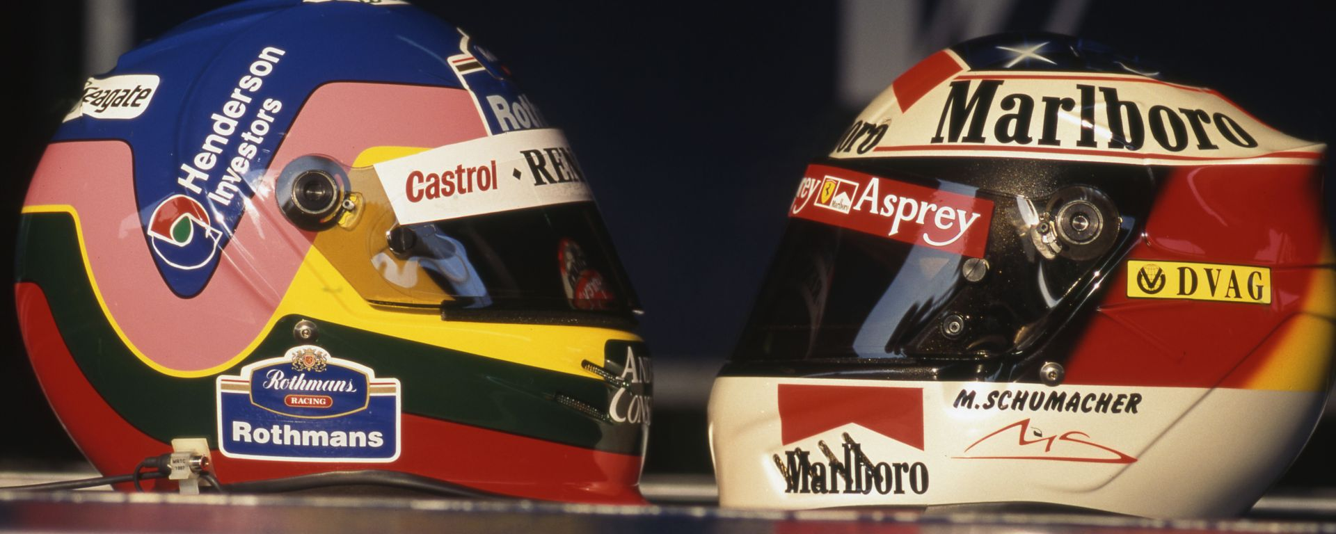 F1 1997: i caschi di Jacques Villeneuve e Michael Schumacher