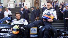 F1 2001, la presentazione del team Minardi F1 con Tarso Marques e Fernando Alonso
