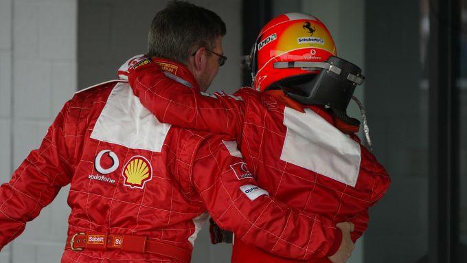 F1 2004: Ross Brawn e Michael Schumacher (Ferrari)