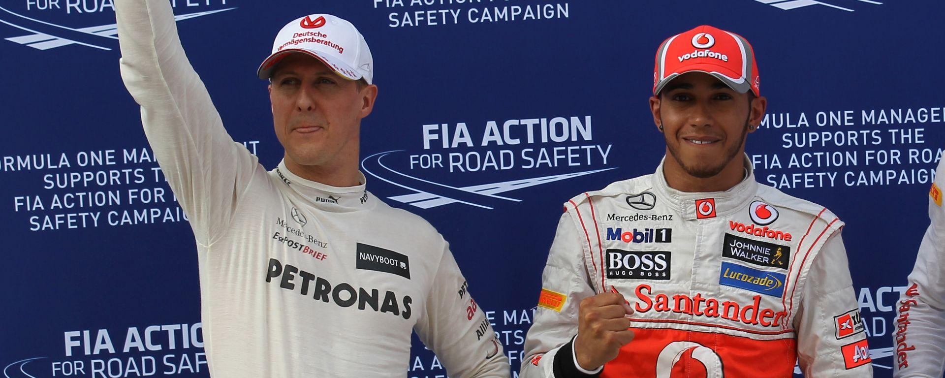 F1 2012: Michael Schumacher (Mercedes) e Lewis Hamilton (McLaren)