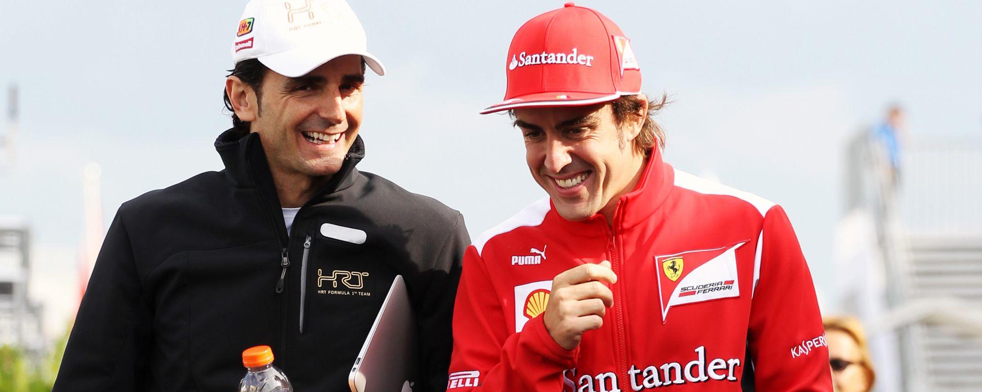 F1 2012: Pedro De la Rosa (HRT) e Fernando Alonso (Ferrari)