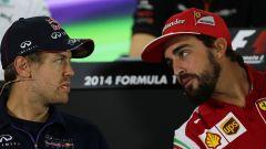 F1 2014, Sebastian Vettel (Red Bull) e Fernando Alonso (Ferrari)