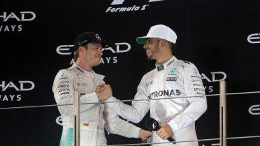 F1 2016: Nico Rosberg e Lewis Hamilton sul podio del GP Abu Dhabi
