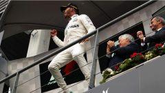 F1 2017 GP Belgio, Hamilton esulta sul podio