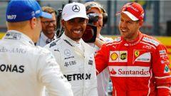 F1 2017 GP Belgio, Lewis Hamilton assieme a Bottas e Vettel