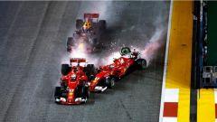 F1 2017 GP Singapore, il contatto al via tra Raikkonen e Vettel