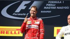 F1 2017 GP Ungheria, Sebastian Vettel sul gradino più alto del podio