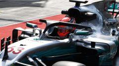 F1 2017 Test Hungaroring, George Russell con la Mercedes dotata di HALO