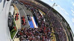 F1 2018, Gran Premio di Gran Bretagna, i festeggiamenti sotto al podio