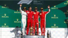 F1 2018, Gran Premio di Gran Bretagna, il podio con Vettel, Hamilton e Raikkonen