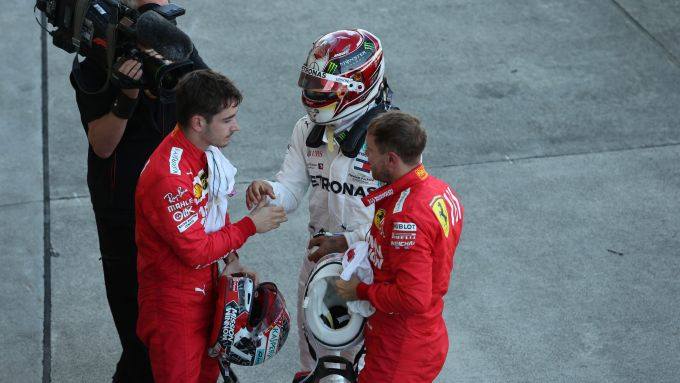 F1 2019: Charle Leclerc e Sebastian Vettel (Ferrari) con Lewis Hamilton (Mercedes)