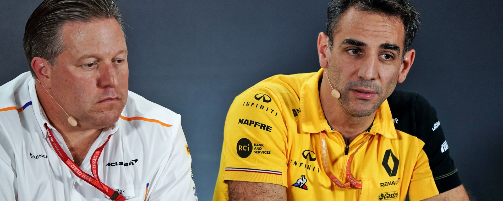 F1 2019: i team principal Zak Brown (McLaren) e Cyril Abiteboul (Renault)