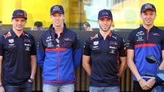 F1 2019, la famiglia Red Bull: da sinistra a destra Verstappen, Kvyat, Gasly e Albon