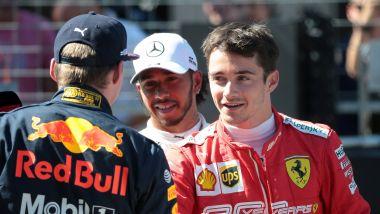 F1 2019: Max Verstappen (Red Bull), Charles Leclerc (Ferrari) e Lewis Hamilton (Mercedes)
