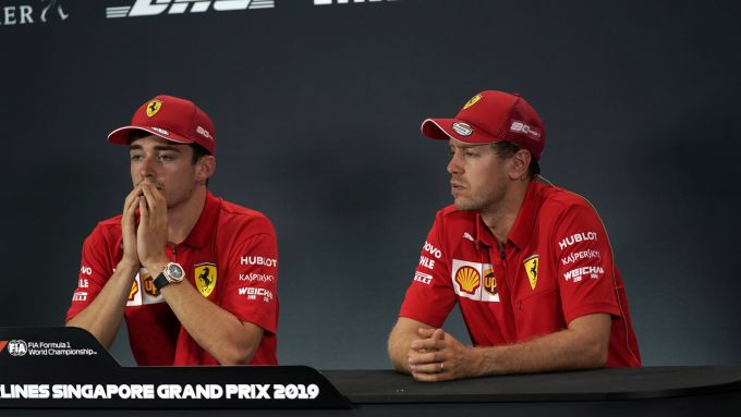 F1 2019, Singapore: i piloti Ferrari Charles Leclerc e Sebastian Vettel in conferenza stampa